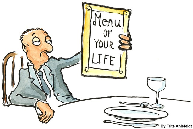 Cartoon: a man holding a menu at a restaurant
