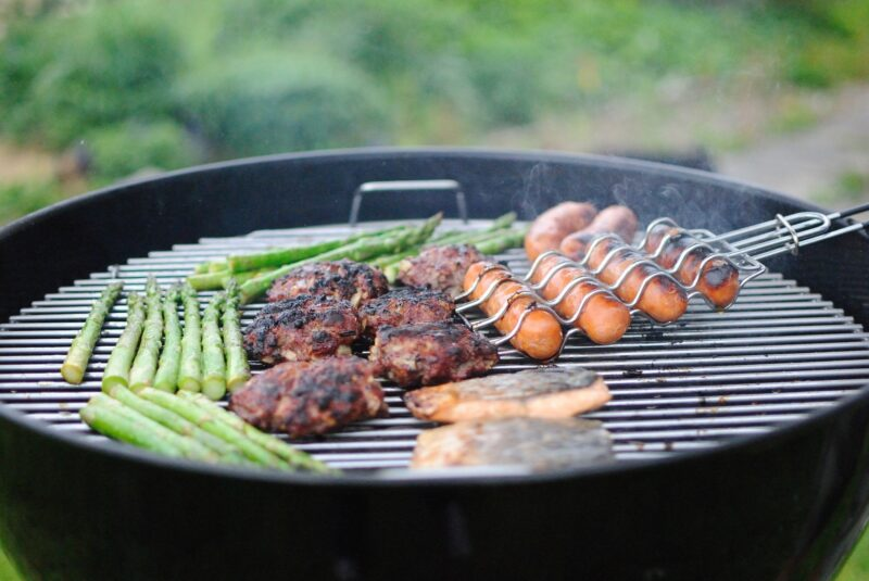 Meat and vegetable on BBQ grill